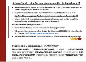 ANMELDUNG FÜR DAS SCHULJAHR 2021/22 (Die neue EF – Nur für externe Schüler*innen)