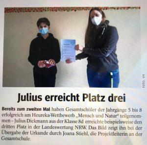 """Heureka-Wettbewerb """"Mensch und Natur"""" 2020 (WAZ, 20.03.2021)"""
