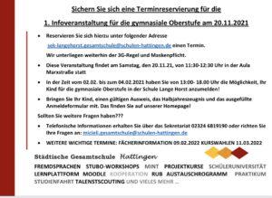 Informationsveranstaltung am 20. November 2021 (neue EF ab 2022/23)